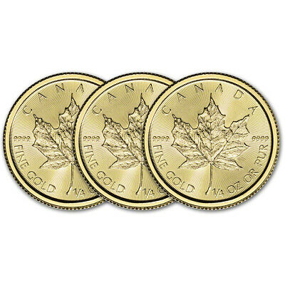 2019 Canada Gold Maple Leaf 1/4 oz $10 - BU - Three 3 Coins