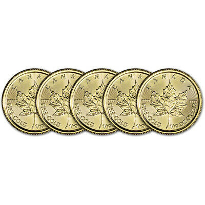 2019 Canada Gold Maple Leaf 1/10 oz $5 - BU - Five 5 Coins
