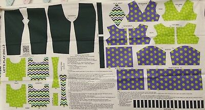"Andover Fabric-Let's Play Dolls Fabric Panel/Everyday Play Outfit/18"" Doll"
