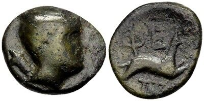 FORVM Very Rare Pheneos Arkadia AE15 Chalkous Head of Artemis / Hound Running