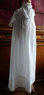 Antique Victorian baby / doll long Christening dress gown lace trim