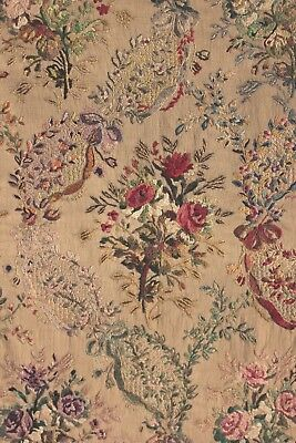 Curtain Antique French embroidered & printed floral tapestry for hanging