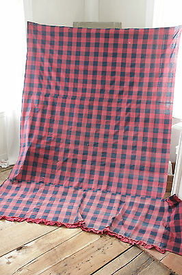 Antique Curtain in Check Fabric French Vichy Blue Red HUGE with ruffle timeworn