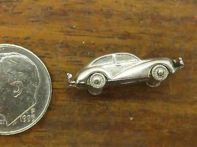 Vintage silver OLD FASHIONED ANTIQUE MOVABLE WHEELS CAR SOLID DETAILED charm