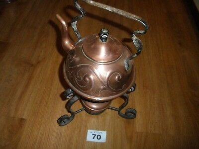 Unusual Antique Copper Kettle On Iron Stand