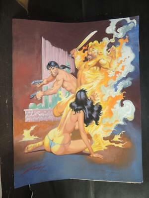Pistolero # 143 Sexy Pin Up Girl Orig Mexican Cover Art Hand Signed By Gallur