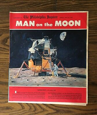 Vintage 1969 MAN on the MOON newspaper insert~Aldrin~Armstrong~Collins Apollo II