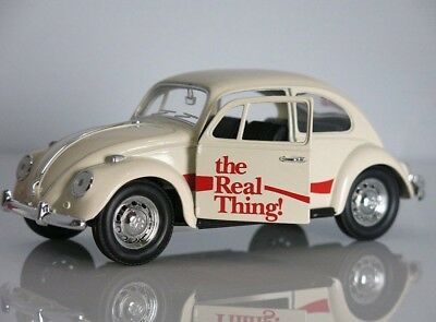 COCA COLA Modello DieCast VOLKSWAGEN BEETLE Beige THE REAL THING 1/24 Motor City