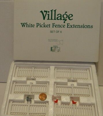 Dept 56 Seasons Bay White Picket Fence Extensions 52625 Set of 6