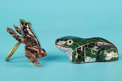 2 Vintage Chinese Cloisonne Enameled Frog Statues Hand-Made Old Collectible Gift