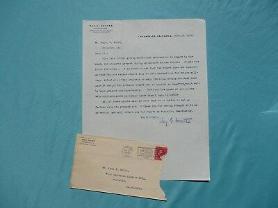 1912 Yosemite Theatre Thomas Wells,R.G.Coates,Mining,Stockton,California Letter!