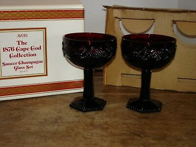 Set of 2 Vintage Avon Cape Cod Saucer Champagne Glasses Ruby Red