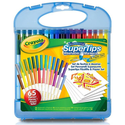 Crayola Washable SuperTips Markers Kit 65 Piece & Paper Set With Carry Case