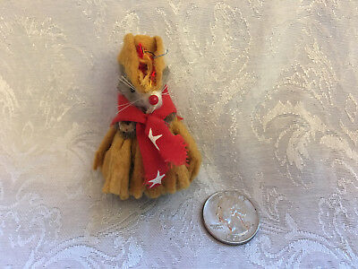 Vintage Little MOUSE Factory COWGIRL Western Girl Pink Dress Fur Toy Mice Doll