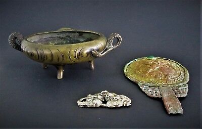 Antique Signed Chinese Mirror, Bronze Incense Burner and Silver Metal Dragon Pin