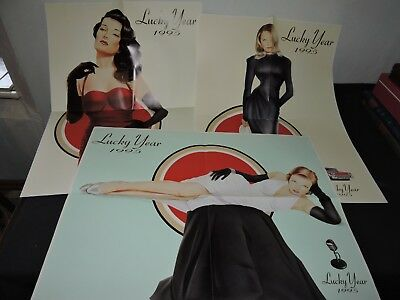 Lot de 3 poster Pin UP Lucky strike Bonne Année Happy Newyear 1995 TBE