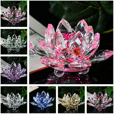 Crystal Swan Lotus Crystal Glass Figure Paperweight Ornament Feng Shui Decor CHL