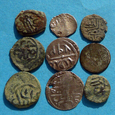 M2848 Lot of 9 oriental /ottoman coins .Bronze and Silver 13-15mm   14.3g