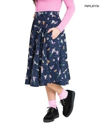 23f6d65f1 Hell Bunny 50s Retro Skirt Spaceships UFO Aliens ATOMIC Navy Blue All Sizes