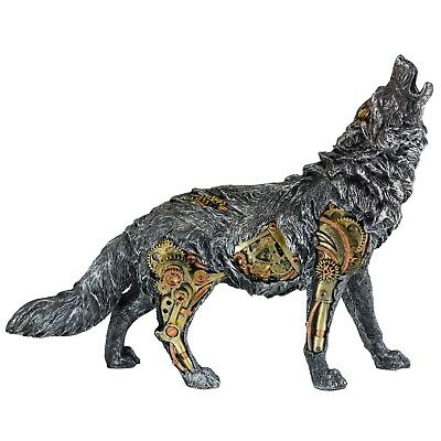 """Steampunk Wolf Figurine Statue With Gears 13.5"""" Long Detailed Resin New In Box!"""