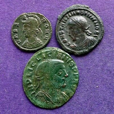 M2868  Lot of 3 bronze Roman coin of Licinius I,Constantine II She-wolf 17-24m