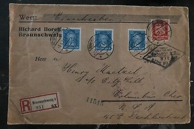 1927 Braunschweig Germany Registered Cover to Columbus Oh USA Back Labels