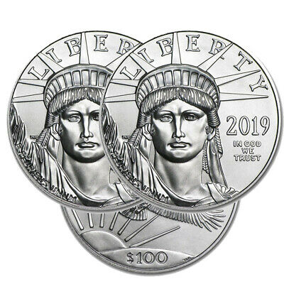 Lot of 3 Platinum 2019 American Eagle 1 oz $100 US Mint American Eagles Coins