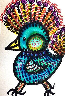 Aceo, Feathers Ruffled, Original Watercolor & Ink Art