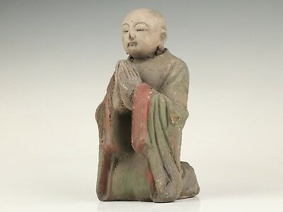 Buddhist Chinese Wood Statue Old Monk Meditation Spiritual Beliefs Collection