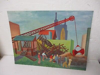 Vintage WPA style painting Oil on Board Industrial scene Steam Shovel signed 1/3