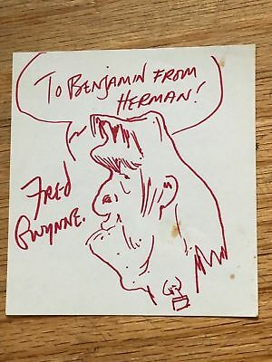 FRED GWYNNE VINTAGE SIGNED ORIGINAL DRAWING as HERMAN - MUNSTERS - 100%AUTHENTIC