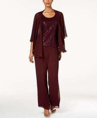 Sl Fashions 3-Pc. Sequined Pantsuit Size 12