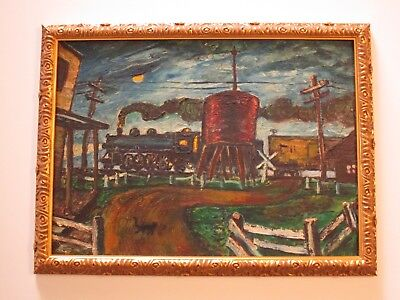 Antique Vintage Urban Americana Painting Train Landscape Industrial Regionalism