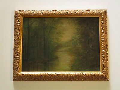 Pine Small Gem Painting Antique American Impressionist Sunset Glow Old Chicago