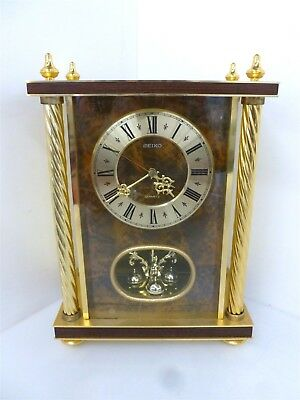 "Seiko 13"" Brass Mantle Table Clock Gold Colored W/ Glass Panel (Untested)"