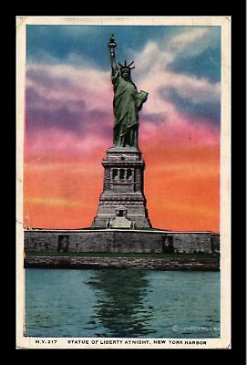 Dr Jim Stamps Us Statue Of Liberty Sunset New York Harbor Postcard