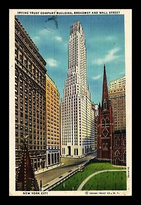 Dr Jim Stamps Us Irving Trust Wall Street New York City Buildings Linen Postcard