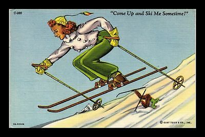 Dr Jim Stamps Us Comic Linen Colortone Woman Skiing Postcard