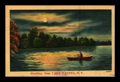 Dr Jim Stamps Us Lake Waneta New York Nyce Landscape Linen Postcard Rowboat