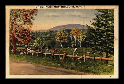 Dr Jim Stamps Us Roxbury New York Grazing Animals Linen View Postcard