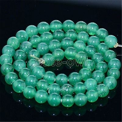 "8mm Natural Green Jadeite Jade Round Gemstone Loose Beads 15"" Strand AAA"