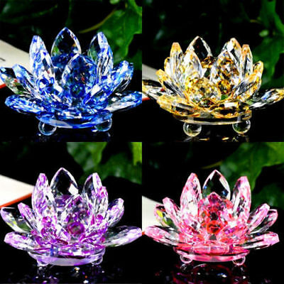 Large Crystal Lotus Flower Ornament All Colors Home Office Decoration Gift