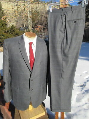 Vintage 1960s Gray-Blue Suit 44R 35x31 Alterable -XLNT Sixties by MICHAELS/STERN