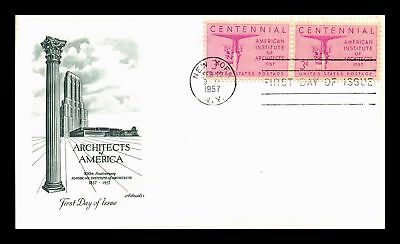 Dr Jim Stamps Us Architects Of America Centennial First Day Cover Pair 1957