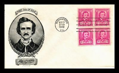 Dr Jim Stamps Us Edgar Allan Poe First Day Cover Smart Craft Block 1949