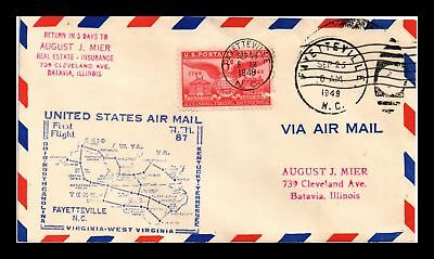 Dr Jim Stamps Us Fayetteville Am 87 First Flight Air Mail Cover Raleigh 1949