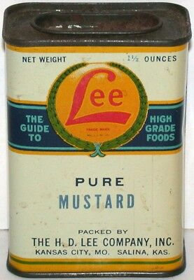 Vintage spice tin LEE PURE MUSTARD all metal H D Lee Kansas City Salina exc+