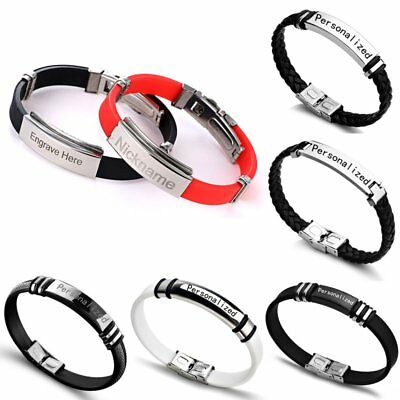 DIY Custom Personalized Letter Engrave Weave Stainless Steel Bracelet Bangle New
