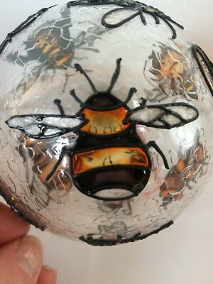 Bee Bumble Bee Christmas Clear Glass Ornament Numbered 2781/15,000 Round 4 inch