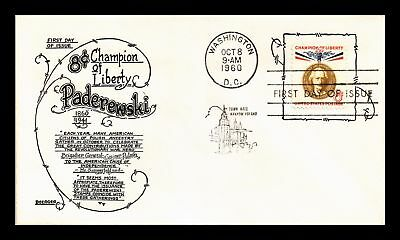 Dr Jim Stamps Us Paderewski 8C Champion Of Liberty Fdc Cover Boerger 1960